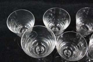 L553 8PC VAL ST LAMBERT CRYSTAL STEMMPED WINE GLASSES STATE PLAIN DISC