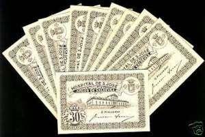 Set of 10 notes Portugal Hospital de S.Jose 30 Centavos