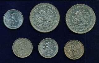 MEXICO ESTADOS UNIDOS 50 PESOS COINS 1982, 1984, 1984, 1987, 1988