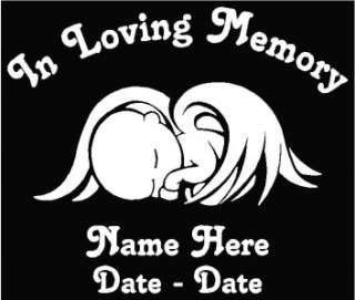 In Loving Memory Angel Baby Memorial Decal Pers 6.5W