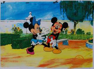 DISNEY MICKEY & MINNIE MOUSE SURPRISE KISS Original Ar Sericel Cel