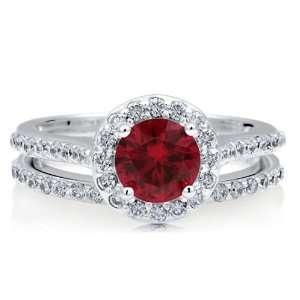 CZ Halo 2Pcs Ring Set   Nickel Free Engagement Wedding Ring Set Size 5