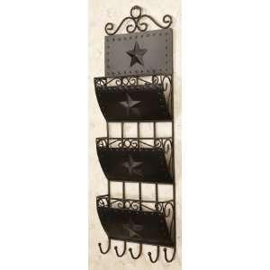 Wall Rack ~ Organizer 3 pocket letter holder, 5 hooks