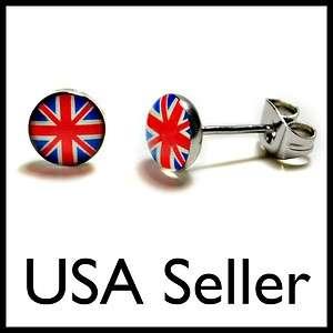 STEEL POST EARRINGS BRITISH FLAG Union Jack Stud Pair NEW Jewelry Gift