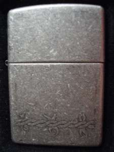 ANTIQUE SILVER ZIPPO LIGHTER RARE 2 SIDE WRAP AROUND DESIGN GIFT BOX