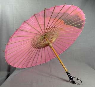 ORIENTAL JAPANESE SUN UMBRELLA PARASOL BAMBOO WOOD PINK SILK