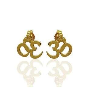 14K White Solid OM AUM Yoga Post Earrings P&P Luxury