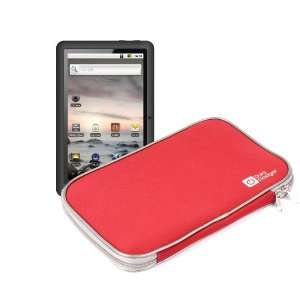 Red Neoprene Tablet Case Carry Case For Coby MID1024 Kyros Internet
