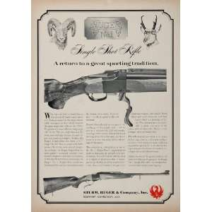 1968 Ad Sturm Ruger Single Shot Rifle Bighorn Sheep Gun