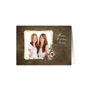 twin sister, birthday, damask, photo card, bouquet, flower
