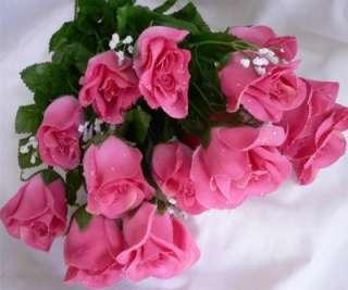 84 PINK MAUVE Long Stem Silk Rose Buds Wedding Flowers