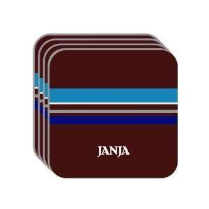 Personal Name Gift   JANJA Set of 4 Mini Mousepad Coasters (blue