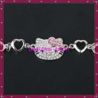 HelloKitty Crystal Bracelet Pink Double Heart Princess Bling Jewelry