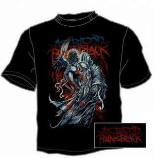 AS BLOOD RUNS BLACK Death Raven Mens T SHIRT Size XL