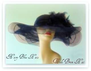 NAVY BLUE FORMAL DRESS HAT CHURCH MILLINERY ASCOT Cami