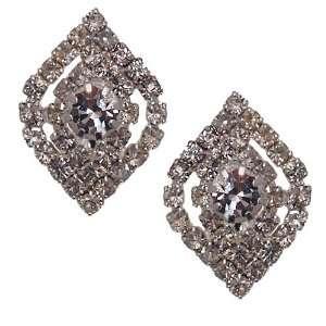 BAKANA Silver Tone Crystal Clip On Earrings Jewelry