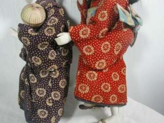 Vintage Asian Chinese Japanese Kimono Dolls Boy and Girl