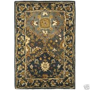 Hand tufted Antique Blue Wool Carpet Area Rug 2 x 3
