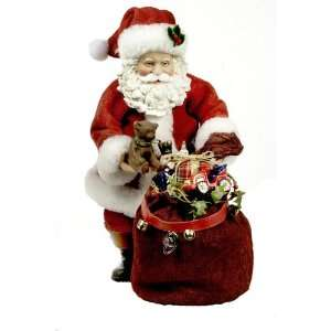 Kurt Adler Fabriche 13 Inch Musical Santa with Teddy Bear