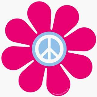 Fridgedoor Pink Peace Flower Power Car Magnet Automotive