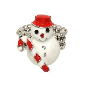 Epoxy Snowman Christmas Fashion Ring with Beaded Stretch Band Jewelry