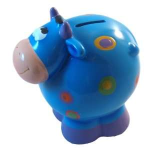 Ceramic Cow Coin and Money Bank, Blue
