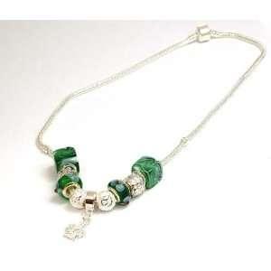 TOC BEADZ Branded Green Crown Bead Necklet   45cm Jewelry