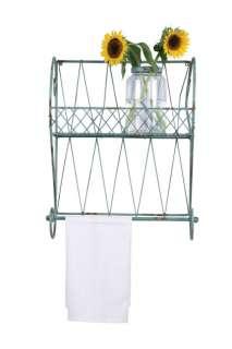 COUNTRY CHIC Wire WALL SHELF Towel Rack Aqua Lt Blue