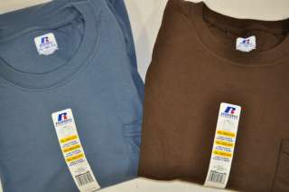 Athletic Mens Long Sleeve Crew Neck Cotton Pocket T Shirt Brown Blue