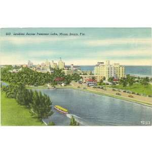 1940s Vintage Postcard View across Pancoast Lake   Miami Beach
