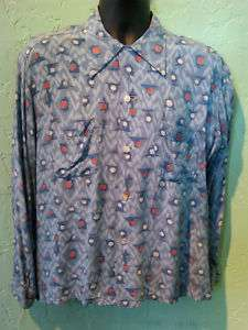 Killer Vintage 1950s Rayon Novelty Print Rockabilly Shirt L/44