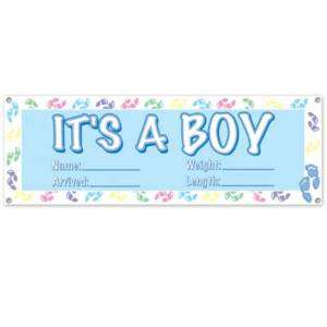 Its A Boy Sign Banner 63 x 21 Baby Shower Party