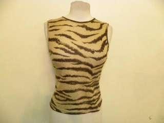 DOLCE & GABBANA tan tiger pattern tank top 40/2 4
