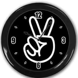 Peace sign Wall Clock Black Great Unique Gift Idea Office
