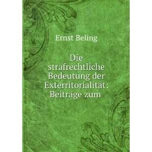 bedeutung der exterritorialität: Ernst Beling: Books