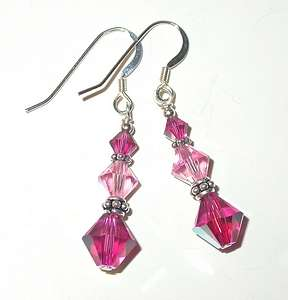 SWAROVSKI CRYSTAL ELEMENTS Bali Sterling Silver Earrings 2 Tone PINK