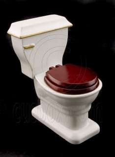 Mahogany Bathroom Tank Seat Toilet Dollhouse Furniture