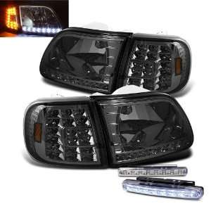 97 02 Expedition Smoked LED Head Lights + LED Bumper Fog Lamp Pair Set