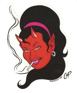 Full Color Sticker Coop Devil Girl Face