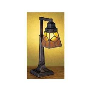 Meyda Tiffany Amber Mica Diamond Mission Desk Lamp   27881
