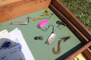 Antique Wood Fishing Tackle Box Lot with Vintage Lures & Gear Heddon