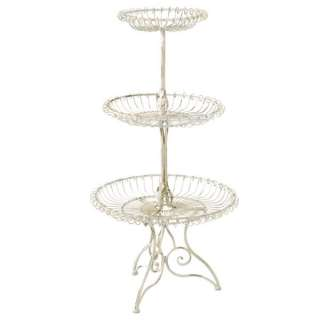 SHABBY FRENCH CHIC White 3 Tier Display PLANT STAND Metal Country 48