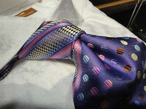 STEVEN LAND BIG KNOT SILK TIE BLACK YELLOW BLUE, BLUE PINK, OR BROWN
