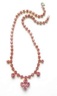 Vintage 1960s pink diamante glass necklace  bridal prom rhinestone