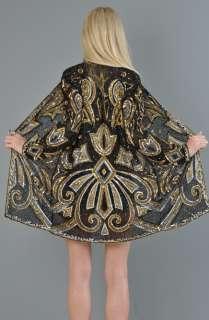 vtg sequin SILK draped ART DECO floral trophy beaded kimono gypsy