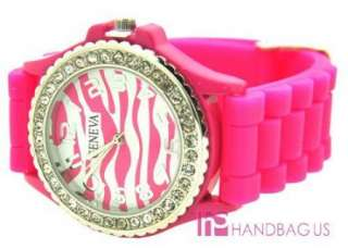 SILICONE RUBBER JELLY WATCH HOT PINK ZEBRA RHINESTONE