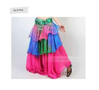 Tiered Three Layered Chiffion Belly Dance Multi Color Shirt