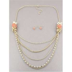 Desinger Inspired Matte Gold Pink Opal Color Necklace and Earrings Set
