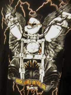 Popeye The Sailor Winged Biker Cycle Club Rock Will Never Die M