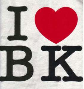 LOVE BK WHITE HEART BROOKLYN T SHIRT COTTON TEE XL